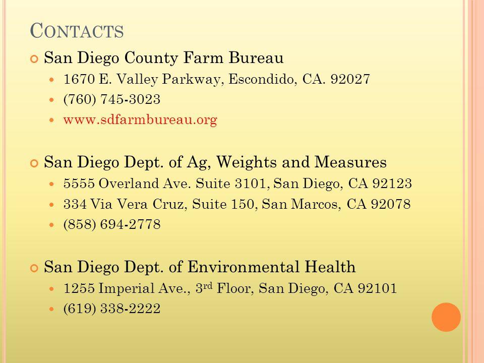 C ONTACTS San Diego County Farm Bureau 1670 E. Valley Parkway, Escondido, CA.
