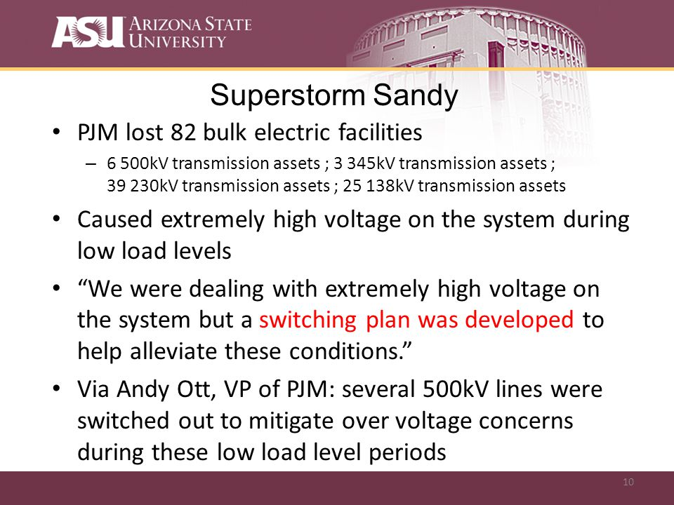 10 Superstorm Sandy PJM lost 82 bulk electric facilities – 6 500kV transmission assets ; 3 345kV transmission assets ; 39 230kV transmission assets ; 25 138kV transmission assets Caused extremely high voltage on the system during low load levels We were dealing with extremely high voltage on the system but a switching plan was developed to help alleviate these conditions.