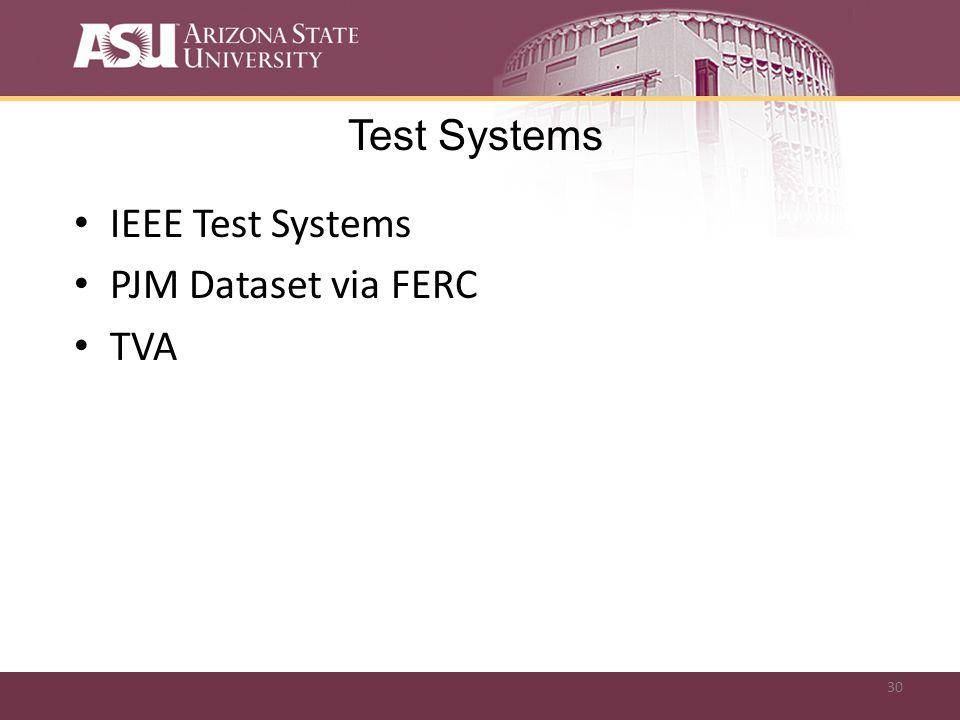 30 Test Systems IEEE Test Systems PJM Dataset via FERC TVA