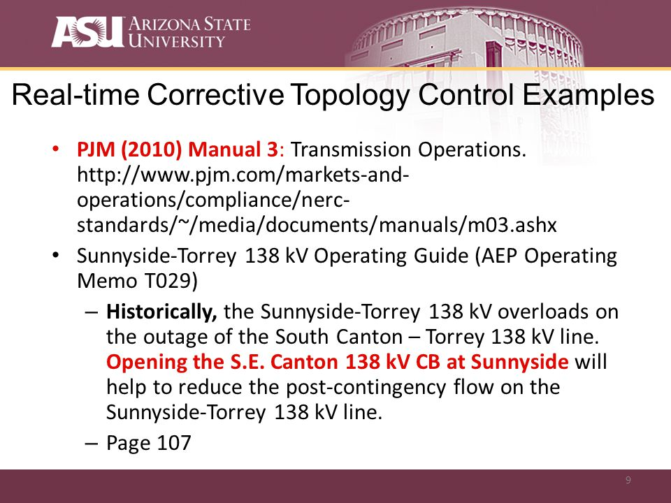 9 Real-time Corrective Topology Control Examples PJM (2010) Manual 3: Transmission Operations.
