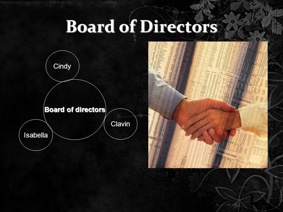 Board of Directors Board of directors Isabella Clavin Cindy