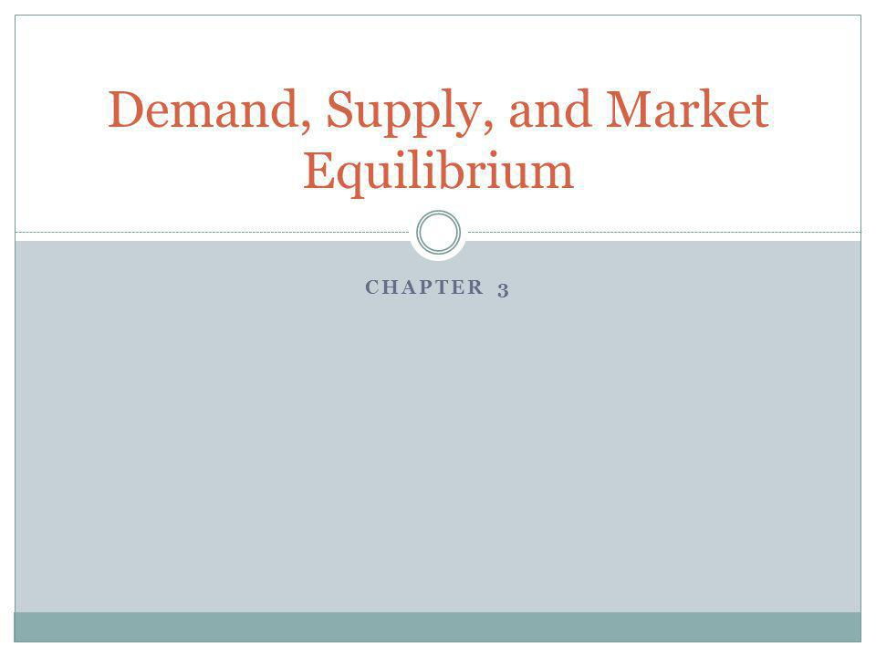 CHAPTER 3 Demand, Supply, and Market Equilibrium