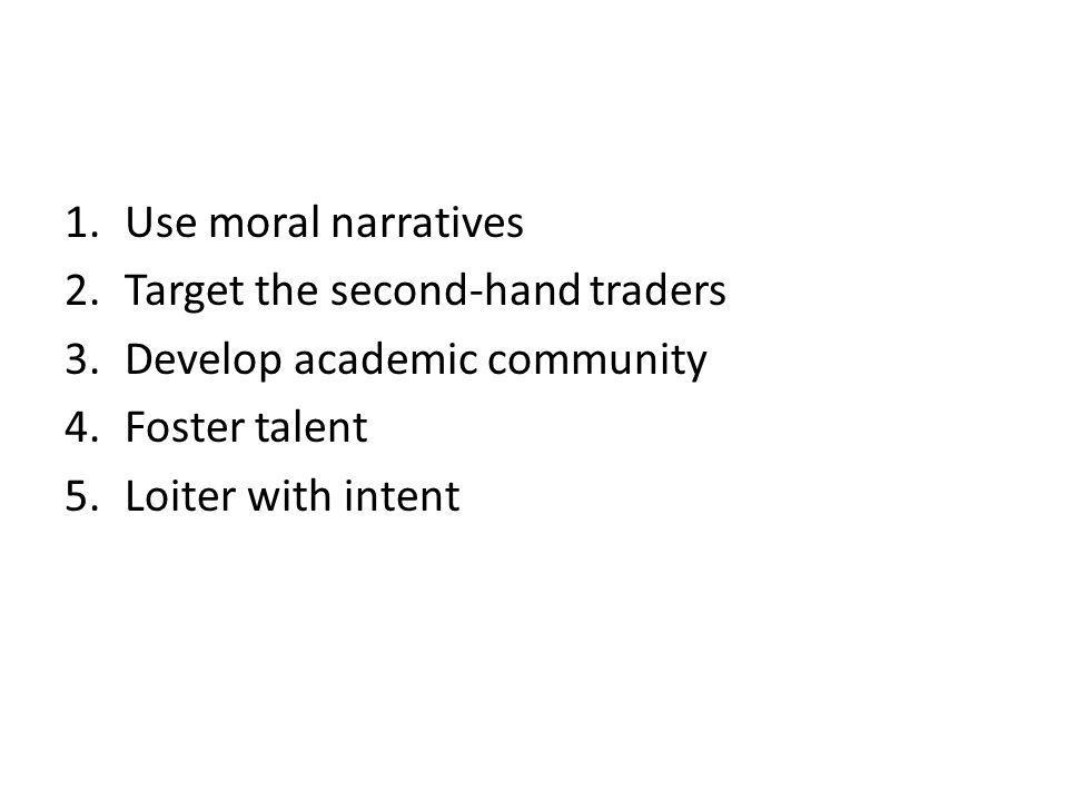 1.Use moral narratives 2.Target the second-hand traders 3.Develop academic community 4.Foster talent 5.Loiter with intent