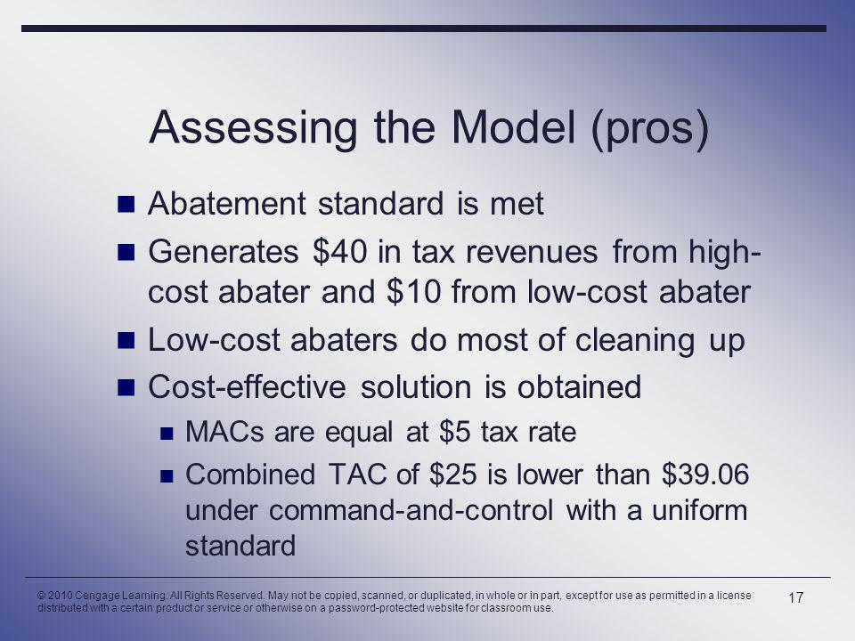 Assessing the Model (pros) Abatement standard is met Generates $40 in tax revenues from high- cost abater and $10 from low-cost abater Low-cost abaters do most of cleaning up Cost-effective solution is obtained MACs are equal at $5 tax rate Combined TAC of $25 is lower than $39.06 under command-and-control with a uniform standard 17