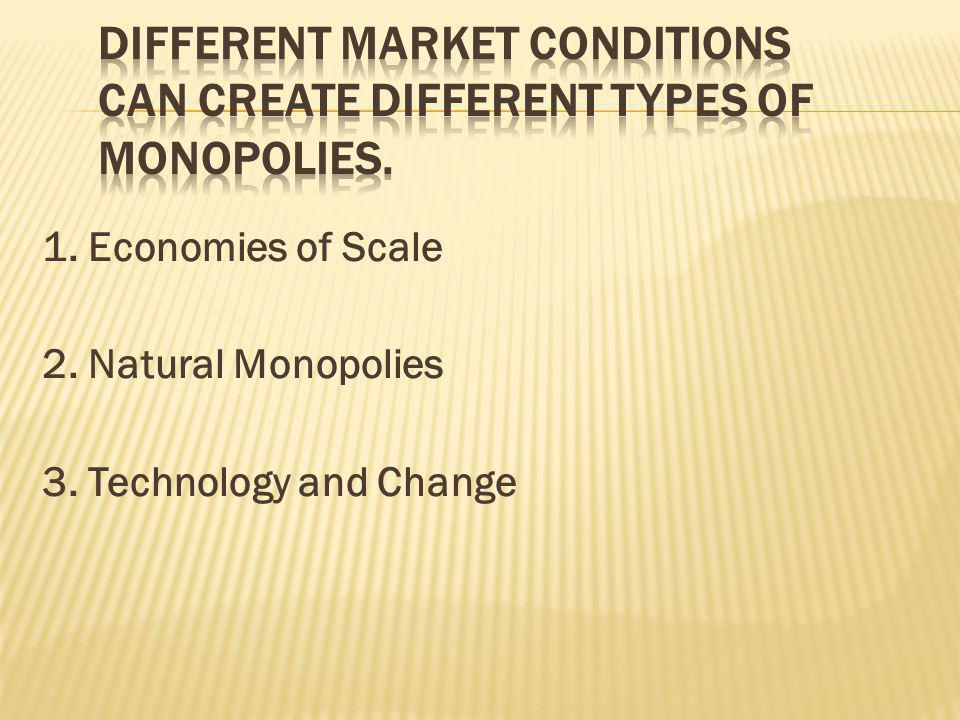 1. Economies of Scale 2. Natural Monopolies 3. Technology and Change