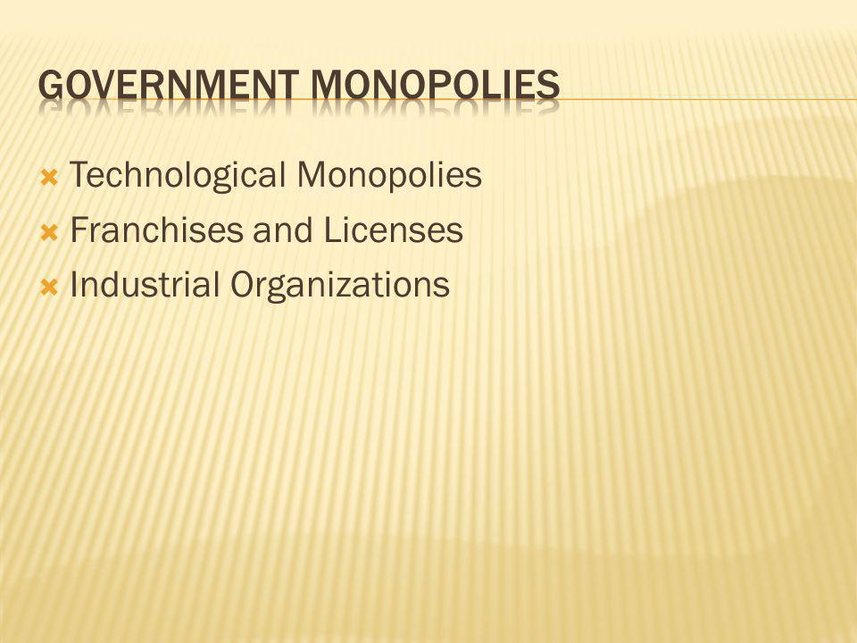 Technological Monopolies Franchises and Licenses Industrial Organizations