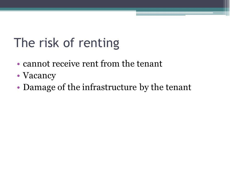 The risk of renting cannot receive rent from the tenant Vacancy Damage of the infrastructure by the tenant