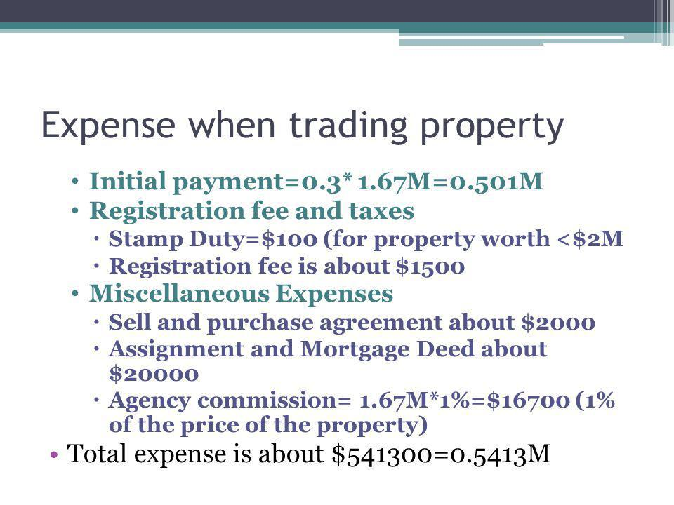 Expense when trading property Initial payment=0.3* 1.67M=0.501M Registration fee and taxes Stamp Duty=$100 (for property worth <$2M Registration fee is about $1500 Miscellaneous Expenses Sell and purchase agreement about $2000 Assignment and Mortgage Deed about $20000 Agency commission= 1.67M*1%=$16700 (1% of the price of the property) Total expense is about $541300=0.5413M