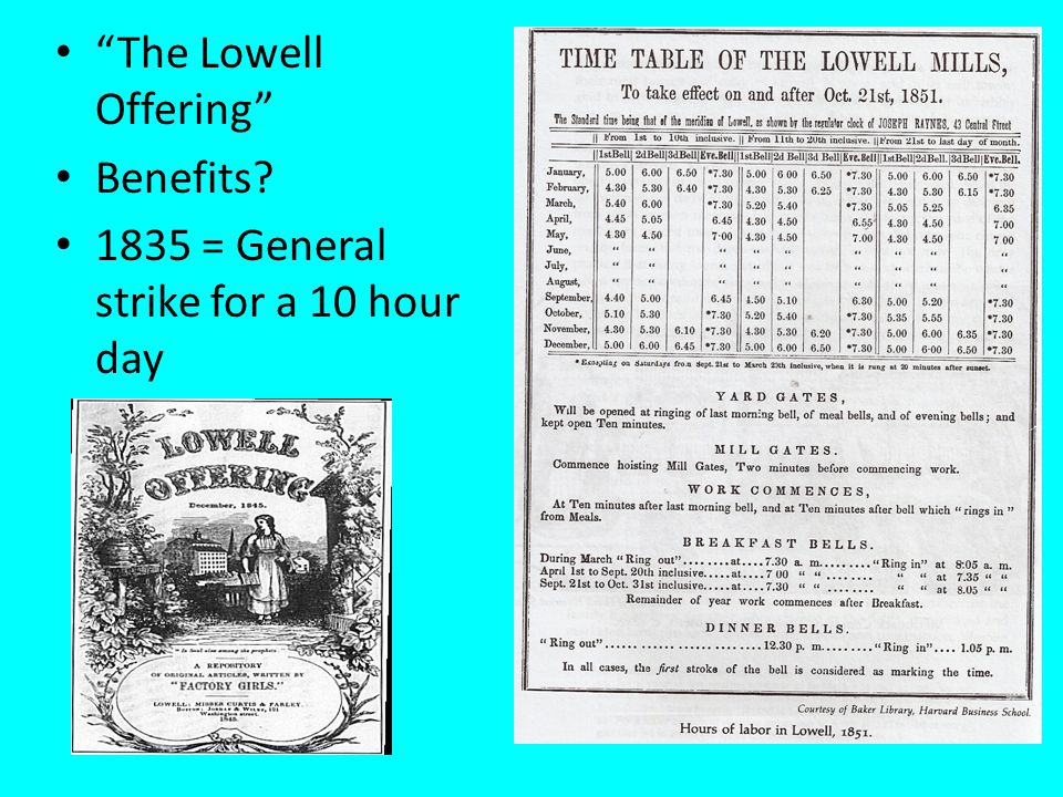 The Lowell Offering Benefits? 1835 = General strike for a 10 hour day