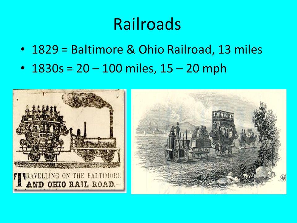 Railroads 1829 = Baltimore & Ohio Railroad, 13 miles 1830s = 20 – 100 miles, 15 – 20 mph