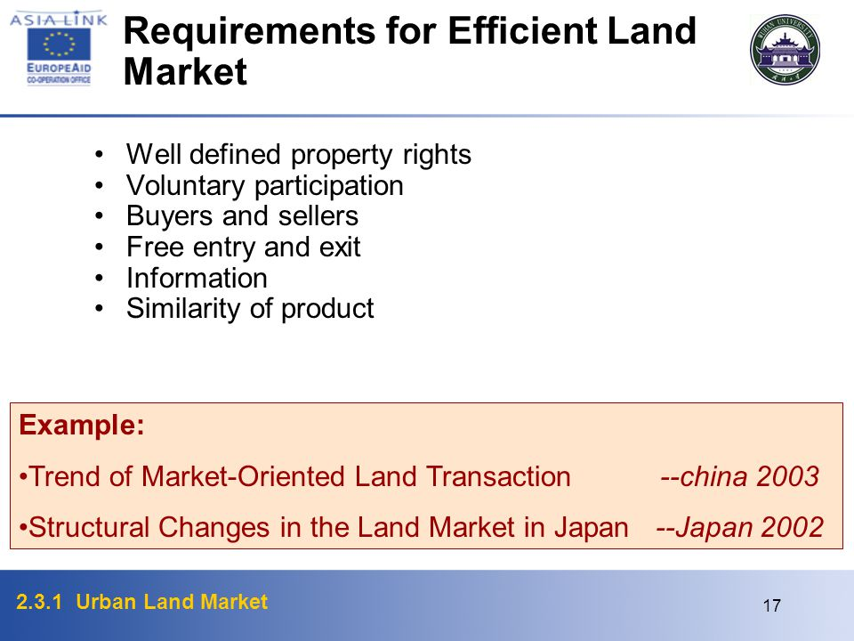 2.3.1 Urban Land Market 17 Requirements for Efficient Land Market Well defined property rights Voluntary participation Buyers and sellers Free entry a