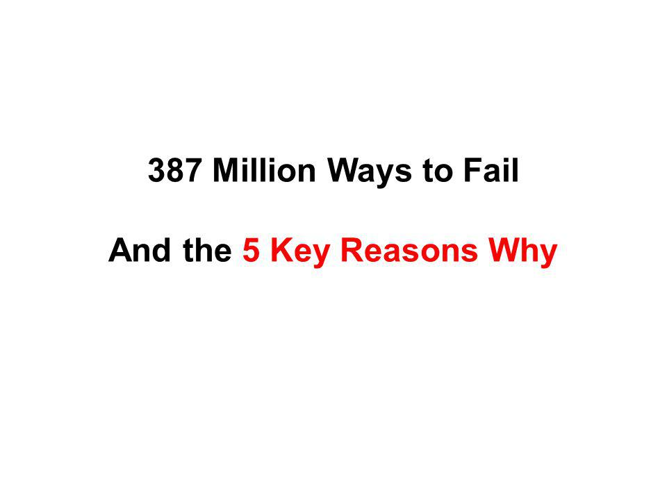 387 Million Ways to Fail And the 5 Key Reasons Why