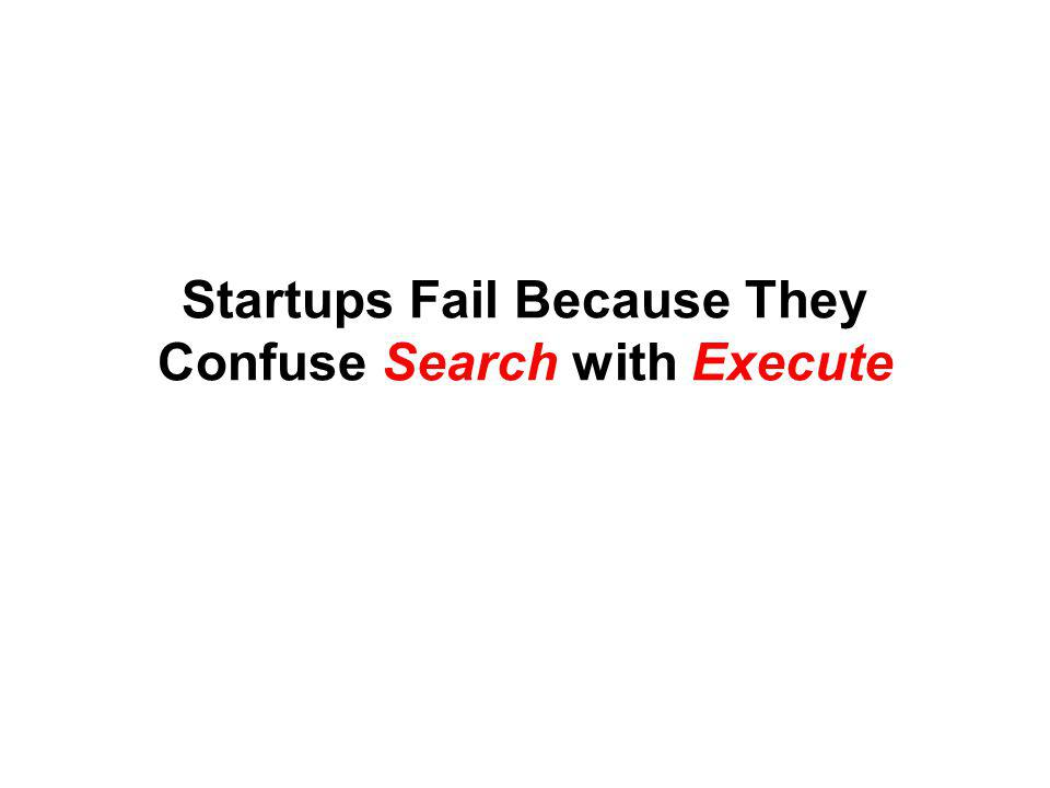Startups Fail Because They Confuse Search with Execute