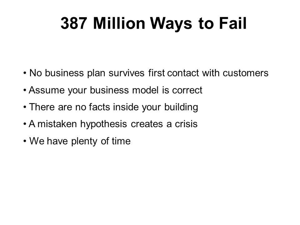 387 Million Ways to Fail No business plan survives first contact with customers Assume your business model is correct There are no facts inside your building A mistaken hypothesis creates a crisis We have plenty of time