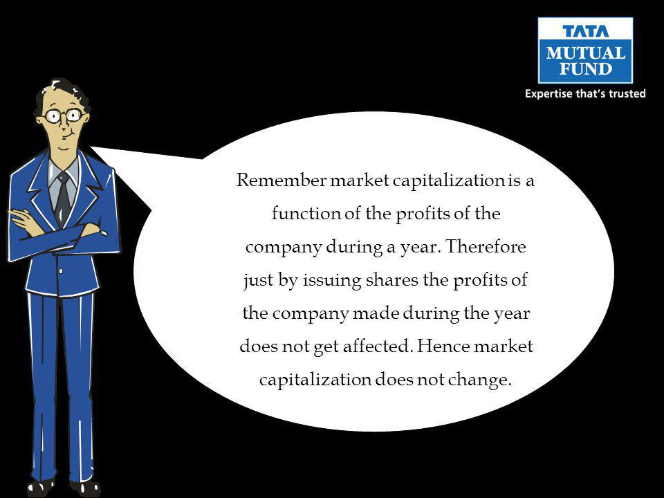 Remember market capitalization is a function of the profits of the company during a year.