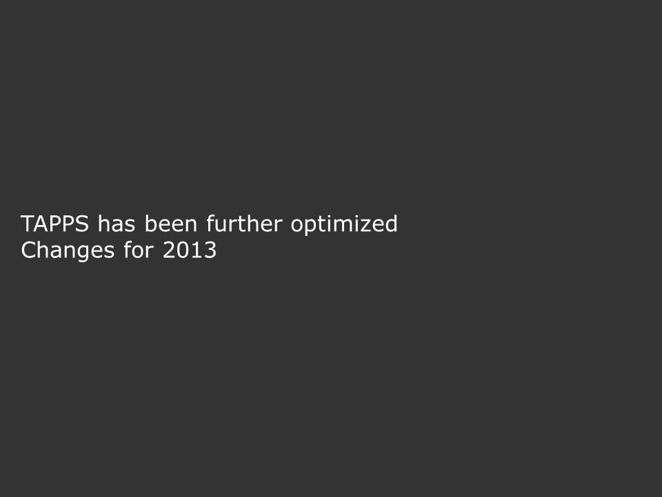 TAPPS has been further optimized Changes for 2013