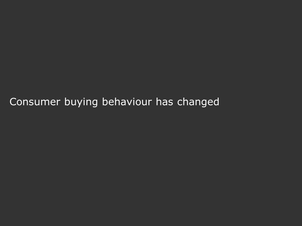 Consumer buying behaviour has changed