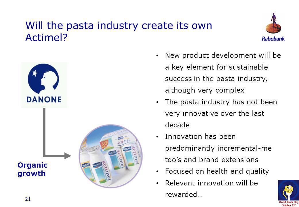 21 Will the pasta industry create its own Actimel? Organic growth New product development will be a key element for sustainable success in the pasta i