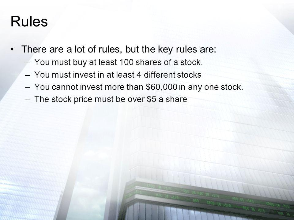 There are a lot of rules, but the key rules are: –You must buy at least 100 shares of a stock. –You must invest in at least 4 different stocks –You ca