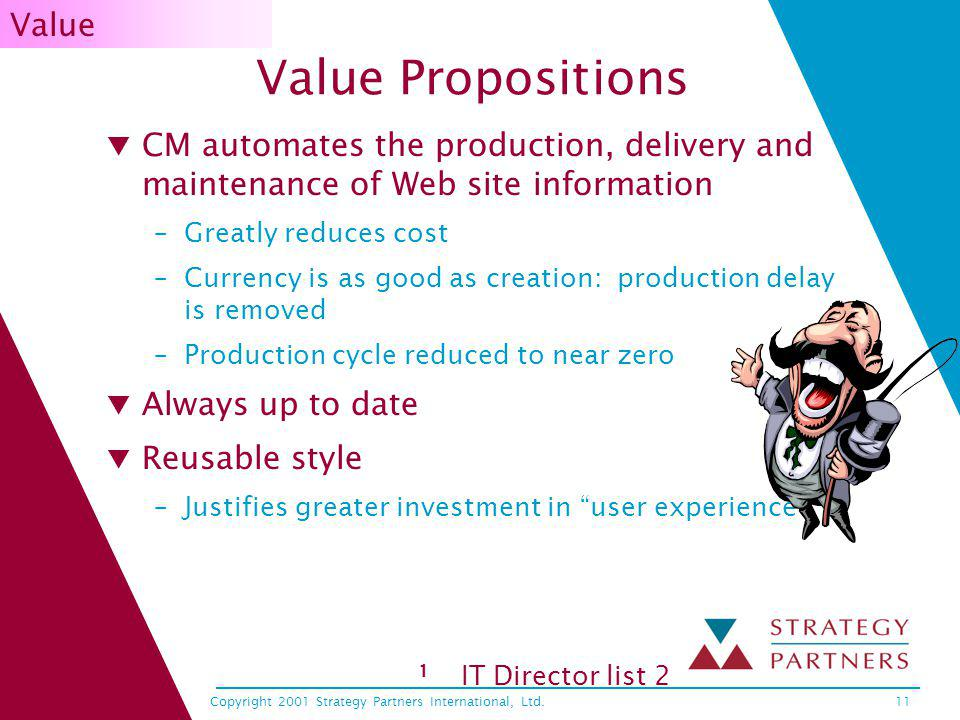 Copyright 2001 Strategy Partners International, Ltd.11 Value Propositions CM automates the production, delivery and maintenance of Web site informatio
