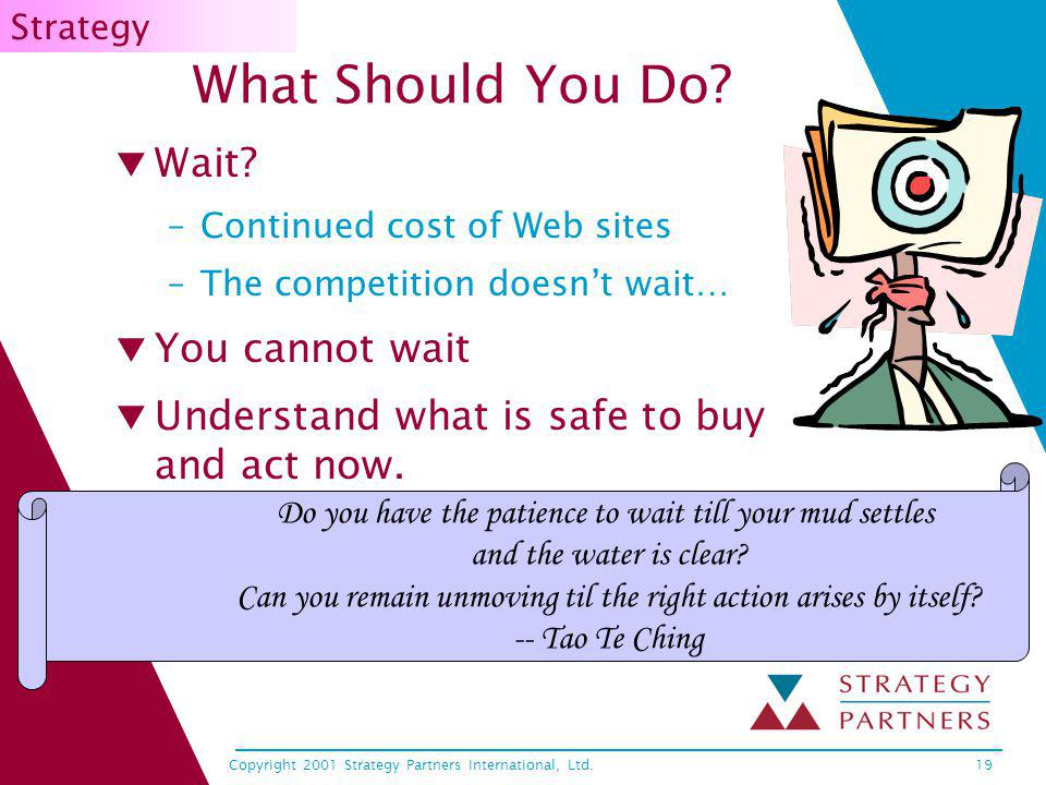 Copyright 2001 Strategy Partners International, Ltd.19 What Should You Do? Wait? –Continued cost of Web sites –The competition doesnt wait… You cannot