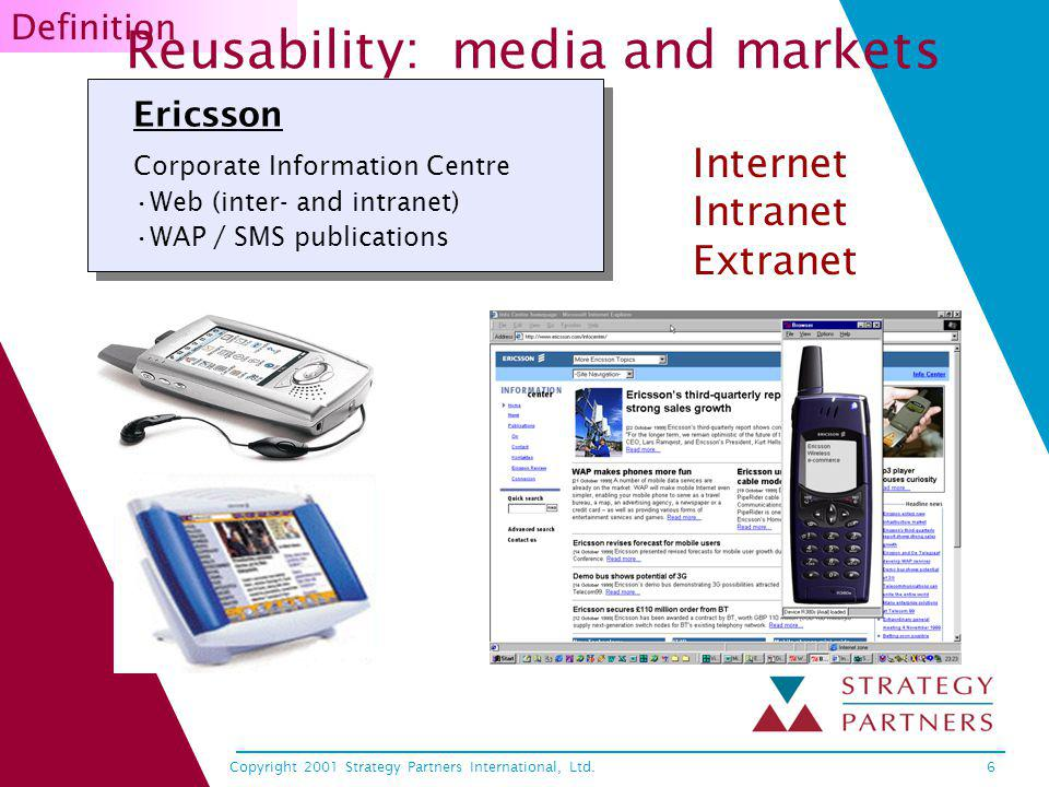 Copyright 2001 Strategy Partners International, Ltd.6 Ericsson Corporate Information Centre Web (inter- and intranet) WAP / SMS publications Internet Intranet Extranet Definition Reusability: media and markets