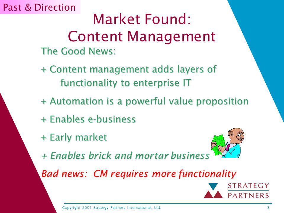 Copyright 2001 Strategy Partners International, Ltd.10 Value Propositions 1 All companies have customer facing information with enormous production/ publication costs (people and paper) –Avoids paper production No manufacturing, shipping, inventory costs Savings for users physical files Web presence = must have –24X7 availability –Media rich –…Managing attention Value 1 IT Director list 1