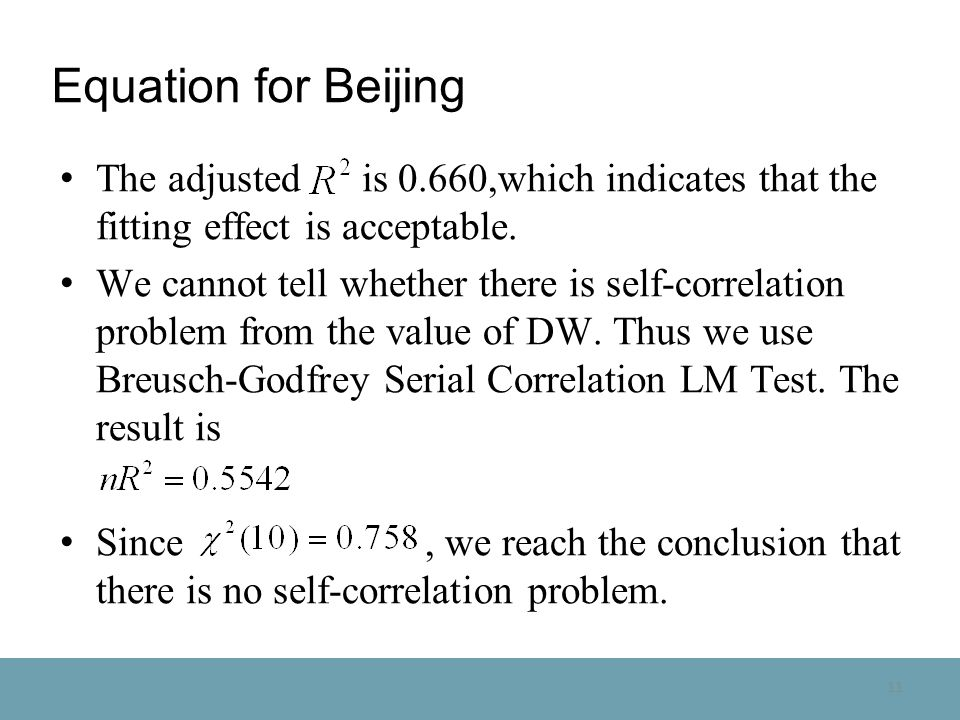 11 Equation for Beijing The adjusted is 0.660,which indicates that the fitting effect is acceptable.