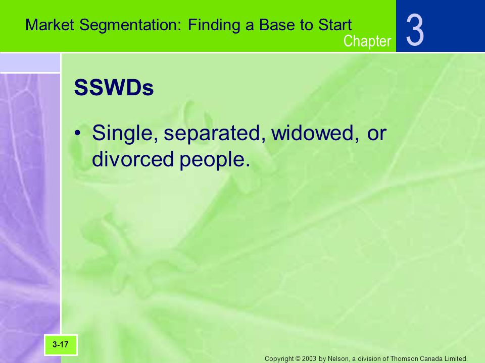 Chapter Copyright © 2003 by Nelson, a division of Thomson Canada Limited. SSWDs Single, separated, widowed, or divorced people. 3 Market Segmentation: