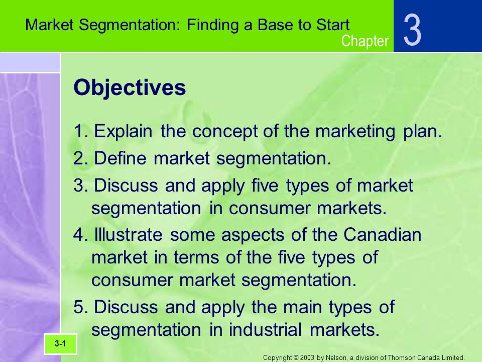 Chapter Copyright © 2003 by Nelson, a division of Thomson Canada Limited. Objectives 1. Explain the concept of the marketing plan. 2. Define market se