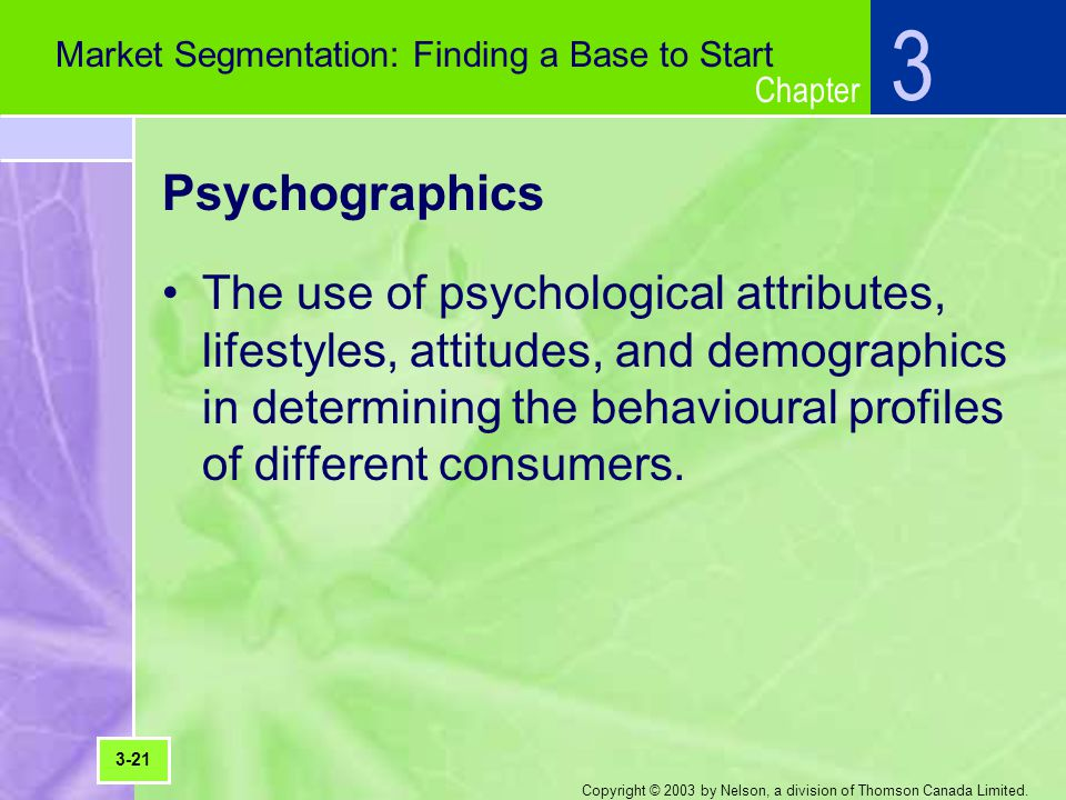 Chapter Copyright © 2003 by Nelson, a division of Thomson Canada Limited. Psychographics The use of psychological attributes, lifestyles, attitudes, a