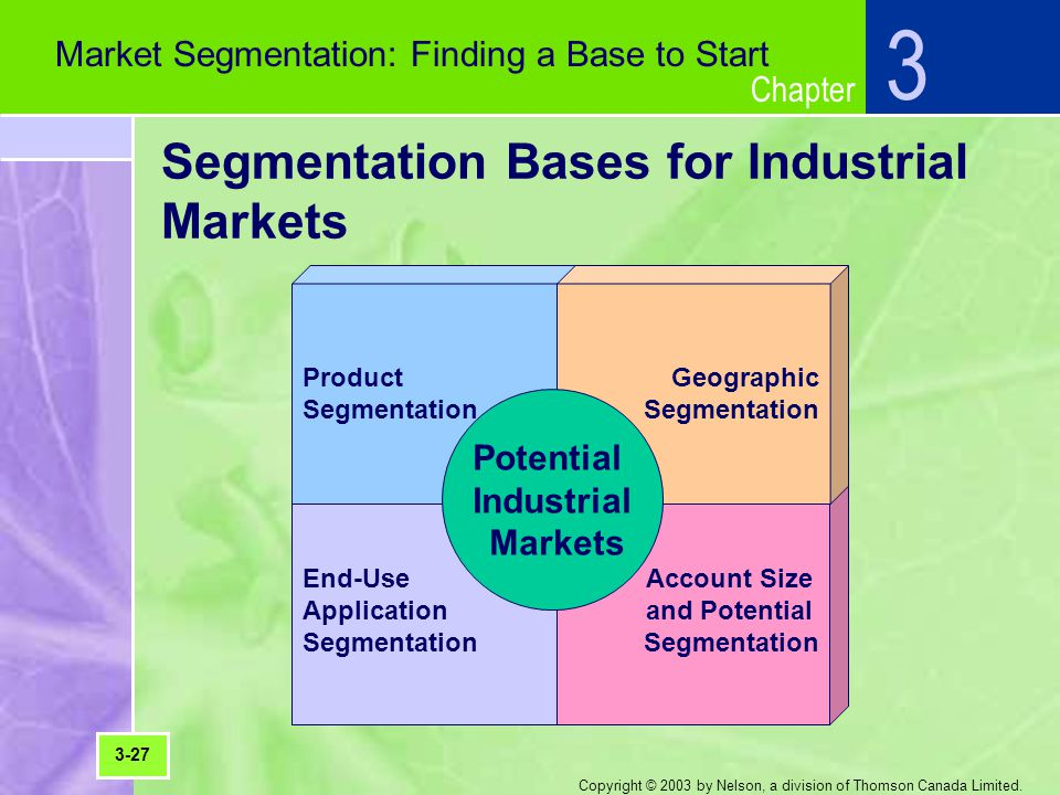 Chapter Copyright © 2003 by Nelson, a division of Thomson Canada Limited. Segmentation Bases for Industrial Markets 3 Market Segmentation: Finding a B
