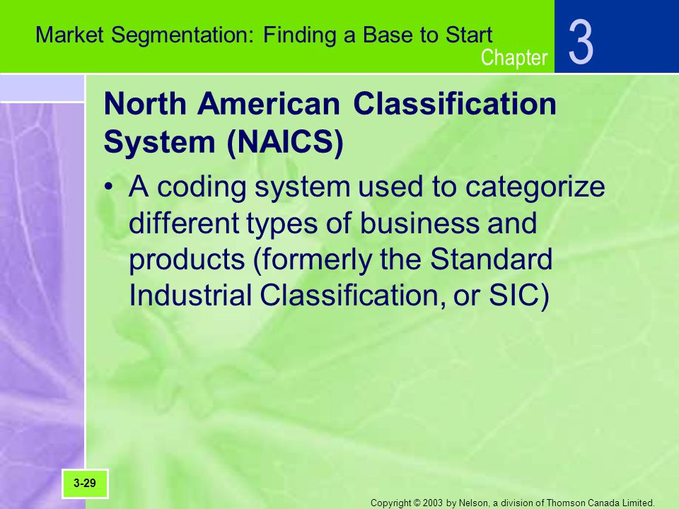 Chapter Copyright © 2003 by Nelson, a division of Thomson Canada Limited. North American Classification System (NAICS) A coding system used to categor