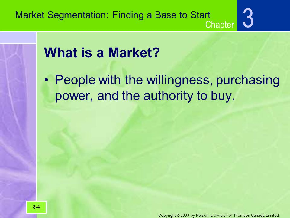 Chapter Copyright © 2003 by Nelson, a division of Thomson Canada Limited. What is a Market? People with the willingness, purchasing power, and the aut