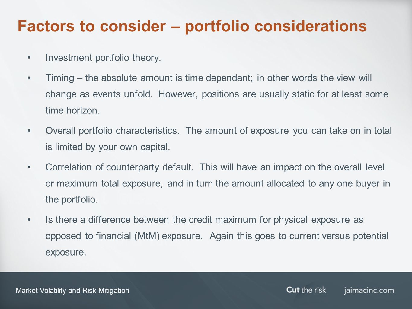 Market Volatility and Risk Mitigation Factors to consider – portfolio considerations Investment portfolio theory.