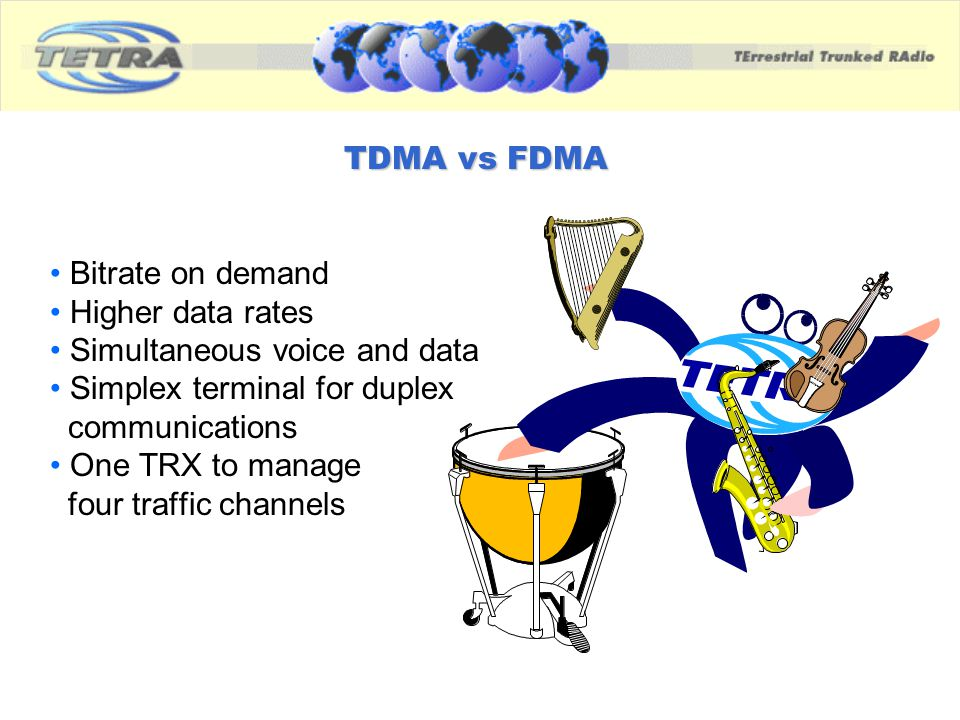 TDMA vs FDMA Bitrate on demand Higher data rates Simultaneous voice and data Simplex terminal for duplex communications One TRX to manage four traffic