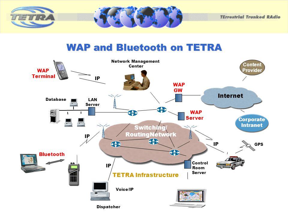 WAP and Bluetooth on TETRA Internet Switching/ RoutingNetwork TETRA Infrastructure Corporate Intranet IP Voice/IP WAP Terminal WAP GW GPS Bluetooth IP