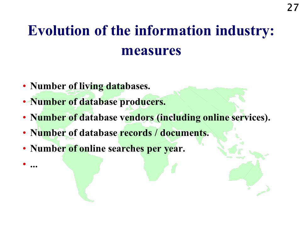 27 Evolution of the information industry: measures Number of living databases.