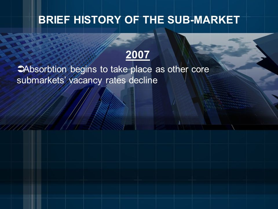 BRIEF HISTORY OF THE SUB-MARKET 2007 Absorbtion begins to take place as other core submarkets vacancy rates decline