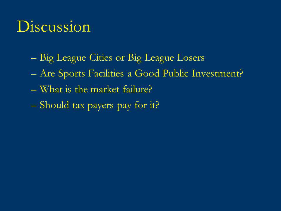 Discussion –Big League Cities or Big League Losers –Are Sports Facilities a Good Public Investment.