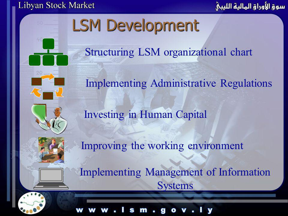 Structuring LSM organizational chart Implementing Administrative Regulations Investing in Human Capital Improving the working environment Implementing Management of Information Systems LSM Development LSM Development