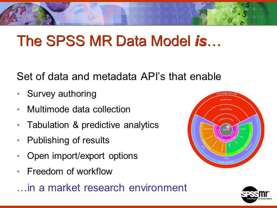 The SPSS MR Data Model is… Set of data and metadata APIs that enable Survey authoring Multimode data collection Tabulation & predictive analytics Publishing of results Open import/export options Freedom of workflow …in a market research environment
