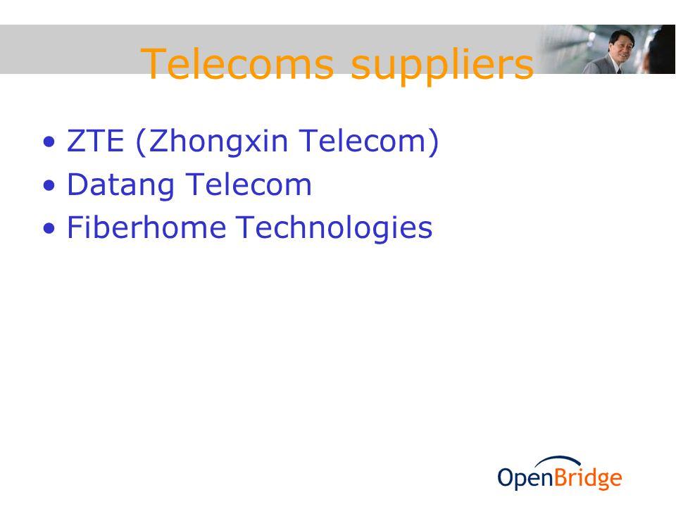 Telecoms suppliers ZTE (Zhongxin Telecom) Datang Telecom Fiberhome Technologies