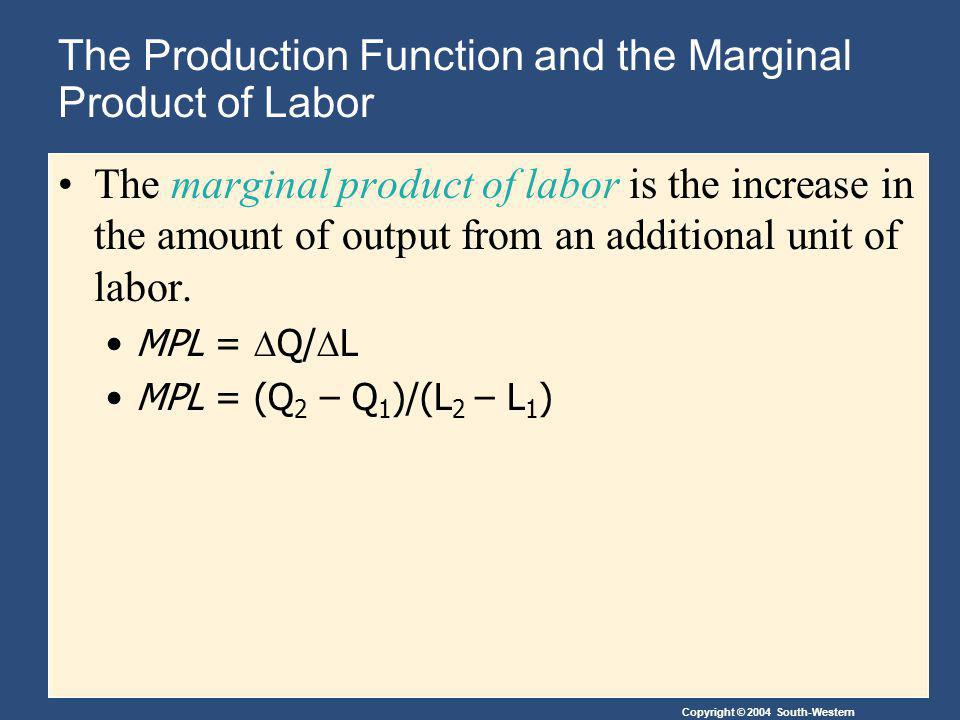 Copyright © 2004 South-Western The Production Function and the Marginal Product of Labor The marginal product of labor is the increase in the amount of output from an additional unit of labor.