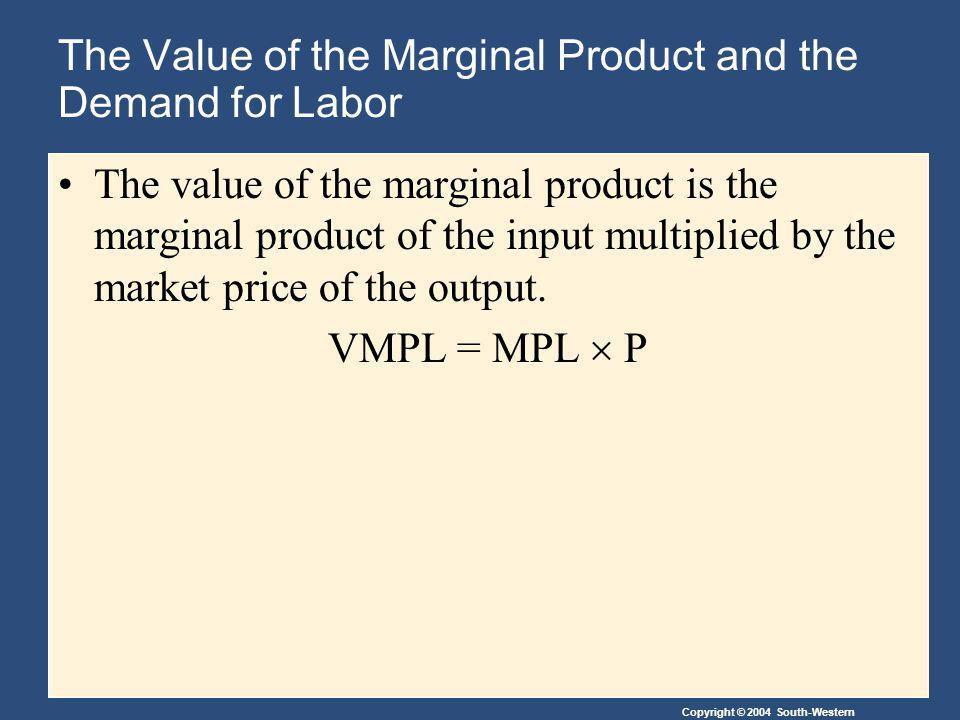 Copyright © 2004 South-Western The Value of the Marginal Product and the Demand for Labor The value of the marginal product is the marginal product of the input multiplied by the market price of the output.
