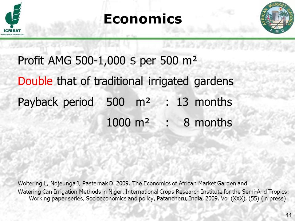 11 Economics Profit AMG 500-1,000 $ per 500 m² Double that of traditional irrigated gardens Payback period 500 m² : 13 months 1000 m² : 8 months Woltering L, Ndjeunga J, Pasternak D.