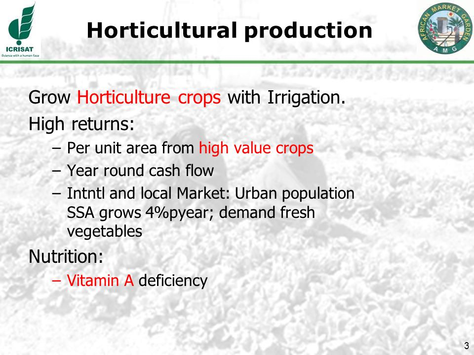 3 Horticultural production Grow Horticulture crops with Irrigation.