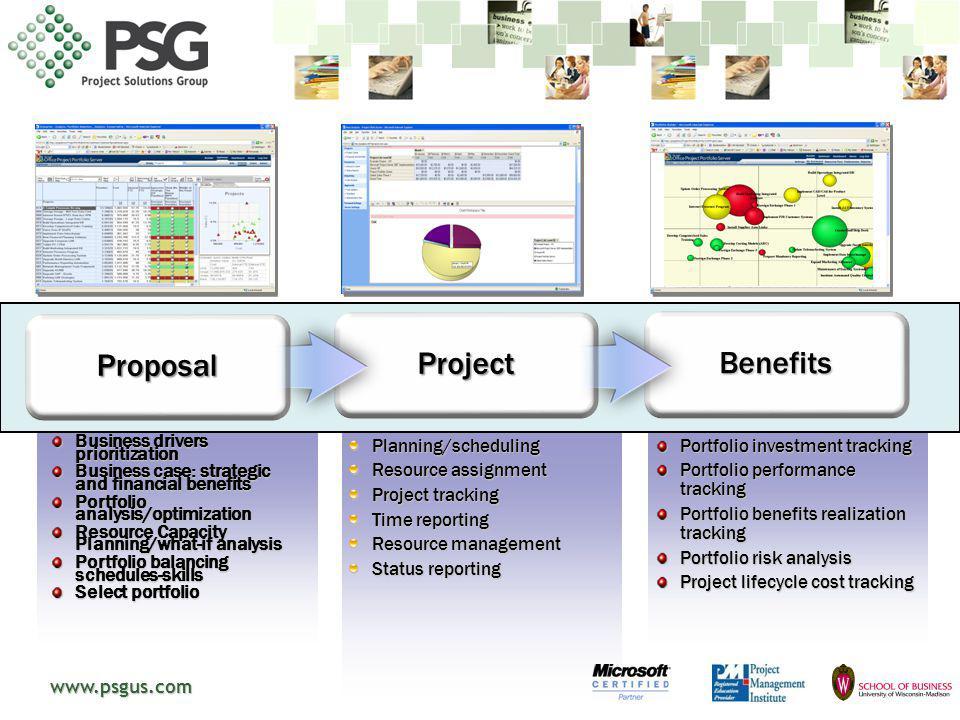 www.psgus.com Business drivers prioritization Business case: strategic and financial benefits Portfolio analysis/optimization Resource Capacity Planni