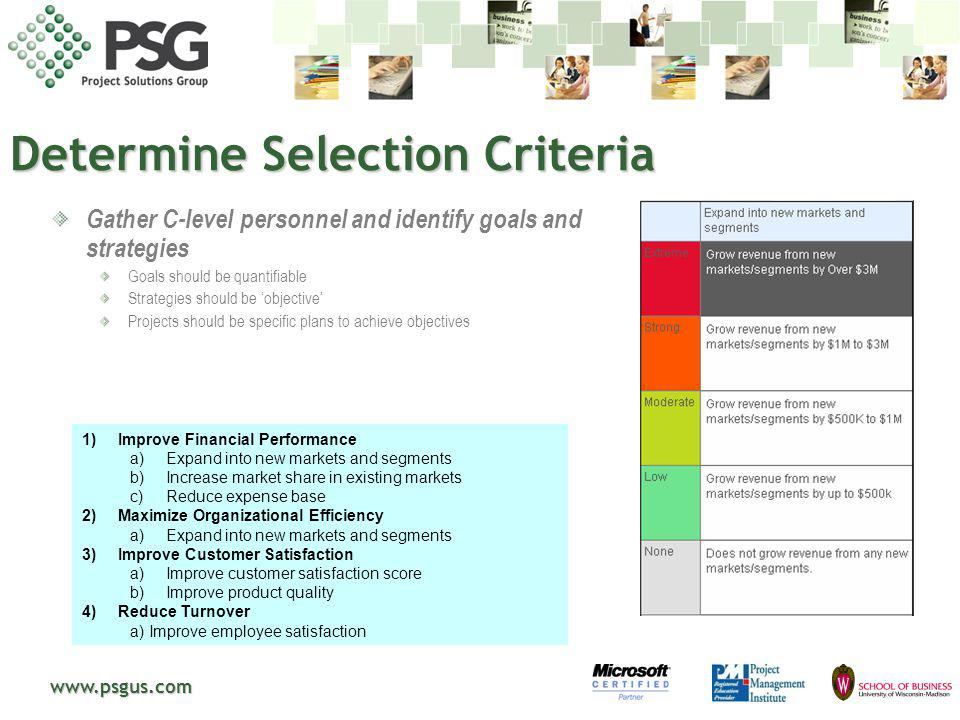 www.psgus.com Determine Selection Criteria Gather C-level personnel and identify goals and strategies Goals should be quantifiable Strategies should b