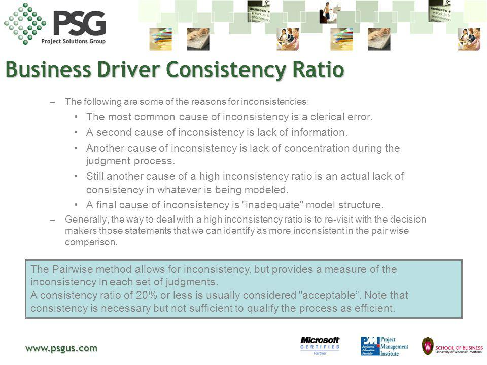 www.psgus.com The Pairwise method allows for inconsistency, but provides a measure of the inconsistency in each set of judgments. A consistency ratio